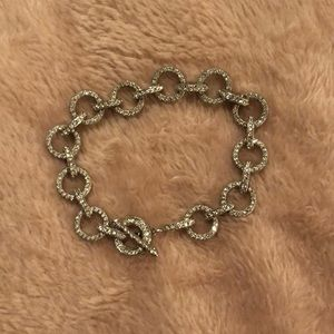 Jewelry - Vintage Silver and crystal chain link bracelet